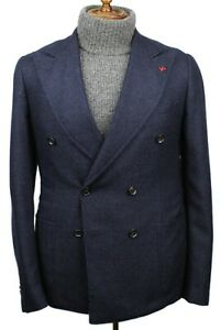 CURRENT Isaia Napoli Navy 100% Cashmere Double Breasted Sport Coat 48/38 R Italy