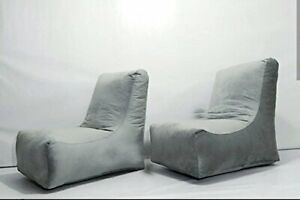 Bean bag Cover Leather sofa chair without Bean Gray Luxuries Home Decor Gift
