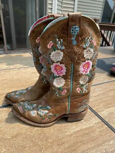 Macie Bean Floral Rose Garden Western Cowgirl Boots Youth Kids Snip Toe Size 13