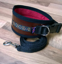 "**LEATHER** GREYHOUND DOG COLLAR FLEECE LINED ADJUST] 13"" - 17"" **FREE LEAD**"