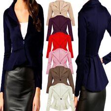 Womens Ladies Peplum Work Blazer One Button Frill Casual Slim Coat Jacket 8-24