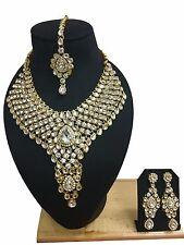 Ethnic Indian Bollywood New Kundan Gold Plated Fashion Jewelry Necklace Set