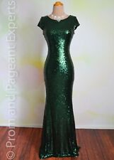 Deep Green Sequin Evening Pageant Prom Long Evening Formal Gown Dress 1X 14/16