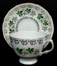 Colclough Vintage Bone China Tea Cup and Saucer #8250 Silver Leaves England