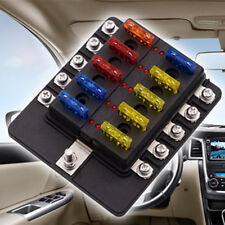 LED 10-Way Blade Fuse Holder + ATO Fuses Car Electrical Installation Accessories
