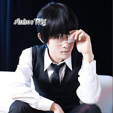 Tokyo Ghoul Kaneki Ken Black Short 30CM Men Cosplay Anime Wig + Wig Cap