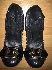 Tory Burch Ballet Flat Shoes Black Leather  NWOB 6.5 M Ambrose