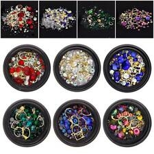 6 Wheels Mixed Nail Art Rhinestones Diamonds Crystals Beads Gems for DIY Decor D