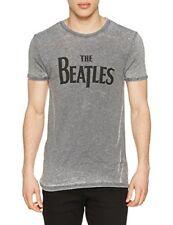 Rockoff Trade The Beatles Mens Drop T Burnout T-Shirt, Grey, Small