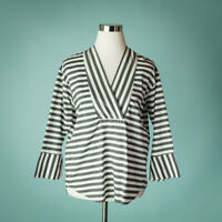 Anthropologie Ne Quittez Pas Small Black White Top Blouse Stripe V Neck Bell