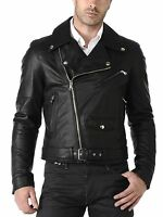 Men's Genuine Lambskin Biker Jacket Motorcycle Slim fit Leather Jacket Coat