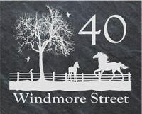 Personalised horse scene door plaque, sign, welsh slate, engraved,