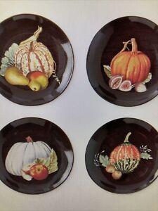 Williams Sonoma Fall Harvest Pumpkin MIXED Appetizer Plates Set of 4 NIB