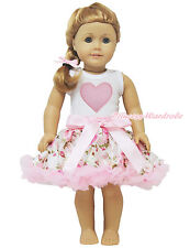 "Valentine Pink Heart White Top Rose Pettiskirt 18"" American Doll Outfit Set"