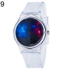 Am_ Transparent Kids Women Colorful Dial Jelly Quartz Analog Wrist Watch Lot Sof