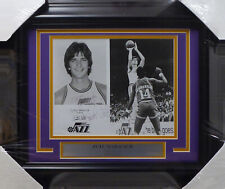 "Pistol Pete Maravich Autographed Framed 8x10 Photo Jazz ""Barry"" JSA BB41878"