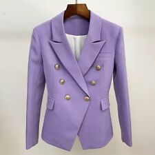Purple Violet Double Breasted Blazer Gold Buttons Office Formal Jacket