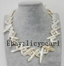 Charme kultiviert weißes Kreuz Barocke Süßwasserperle Hochzeit Halskette 18 Zoll
