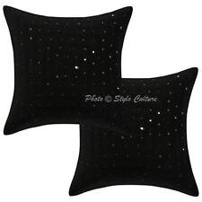 Black Mirror Cushion Cover Throw Indian Handmade Pillow Case Cover Pair 2pc