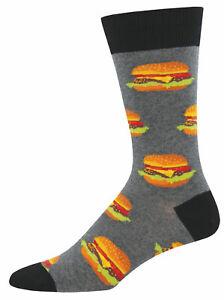NEW Mens Fun Novelty Socks Burger Hamburger on Gray Heather - Sock Size 10-13