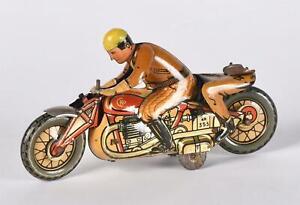 RARE Vintage CKO Kellerman Motorcycle Tin Litho Wind Up Toy for Restoration
