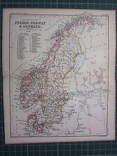 1887 ANTIQUE MAP ~ SWEDEN NORWAY & DENMARK SCANDINAVIA GOTHLAND STOCKHOLM