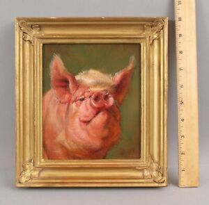 Original ANTHONY BARHAM Portrait Oil Painting, Country Farm Pig w/ Nose Rings