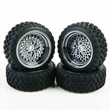 4X 1:10 Rubber Tires Wheel Rim For HSP HPI RC Rally Racing Off Road Car 12mm Hex