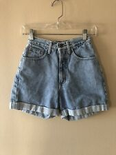 Vintage 80's GUESS Triangle LOGO Distressed High Waisted Jean Shorts Size 22