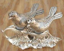 Vintage Metal Birds Salt & Pepper Shaker Set, Birds on branch with flowers