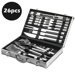 26pcs Stainless Steel BBQ Tool Set Outdoor Barbecue Utensil Aluminium Grill Cook