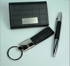 Personalized Executive Business Card Case, Pen and Loop Key Chain Set