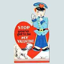 Vintage Valentine Card Valentine'S Day Fairfield Line Traffic Cop Policeman