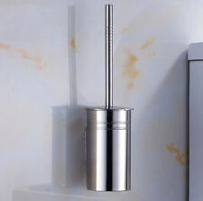 Wall Mount Bathroom Toilet Brush Holder Shelf Set Stainless Steel Chrome Hanger