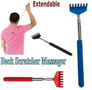 Soft Grip Metal Back Scratcher Telescopic Extendable Handy Pocket Itching Tool