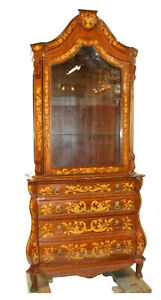 Bookcase or Cupboard, Italian Inlaid , Vintage / Antique, Bombe Base Gorgeous!