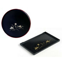 Japanese Sushi Dinner Serving Plate Black Bunny Round or Rectangle Made in Japan