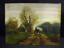 "Antique oil on table landsacape scene miniature painting signed ""J. Ten Cate"""