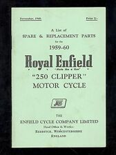 1959-60 ROYAL ENFIELD 250 CLIPPER MOTORCYCLE PARTS MANUAL
