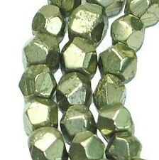 """4x5mm Faceted Gold Pyrite Nugget Beads 16"""" strand"""