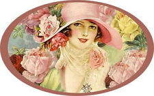 VinTaGe IMaGe LaDY WiTH RoSeS PoRTraiT OVaLs ShaBby WaTerSLiDe DeCALs