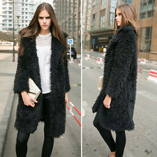 Womens Faux Fur Long Parka Winter Warm Trench Coat Top Ladies Overcoat Outwear