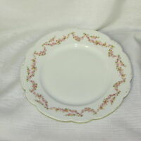 """MZ AUSTRIA BRIDAL ROSE DINNER PLATE 9 3/4"""" PINK SWAGS #1 VINTAGE ANTIQUE CHINA"""