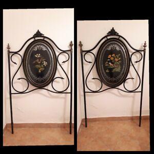 Letto in ferro due pezzi dipinto a mano e restaurato seconda metà '800