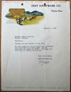 Hysham, MT 1937 Color Letterhead: McCormick-Deering Agricultural - Montana Mont