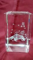 Bevelled Edge Glass 3D Laser Block Paperweight : Zodiac Sign - Taurus