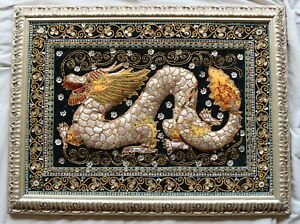 Vintage Chinese Dragon Hand Embroidered Sequin Burmese Framed Art Tapestry