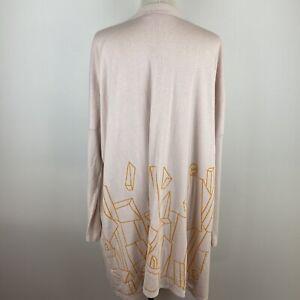 Elk Women's Long Open Front Pink Orange Design Back Cardigan Size M S9
