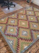 100% Wool Kilim Blue, Wine Red 120x180cm Quality Hand Made Reversible rug