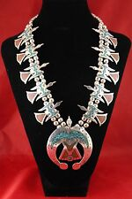 Vintage Sterling Silver Turquoise & Red Coral Peyote Bird Necklace